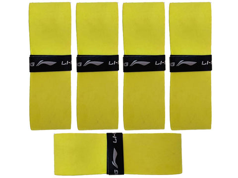 Li-Ning GP 25 SuperGrip Velvet Touch Badminton Racquet Over Grip (Pack of 5) - YELLOW - Best Price online Prokicksports.com