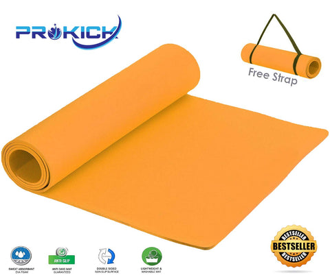 Prokick Anti Skid EVA Yoga mat with Strap - Orange - Best Price online Prokicksports.com