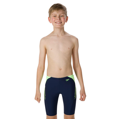 Speedo Boom Splice Swimming Jammer for Boy's, Navy/Bright Zest - Best Price online Prokicksports.com