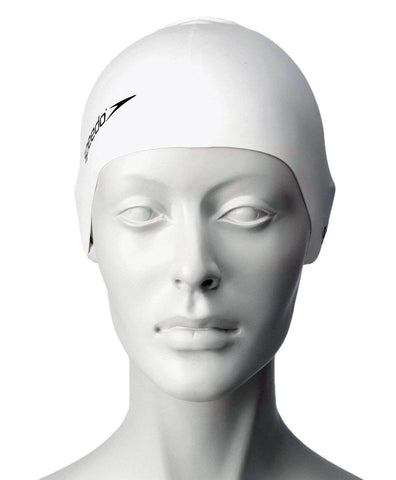 Speedo Unisex-Junior Plain Flat Silicone Swimcap - White - Best Price online Prokicksports.com