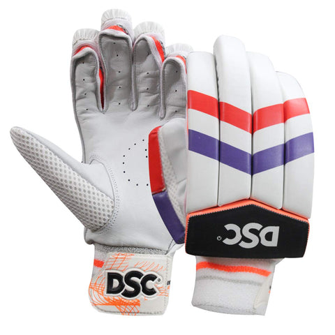 DSC Intense Attitude Leather Cricket Batting Gloves, Mens Right (Red Purple) - Prokicksports.com