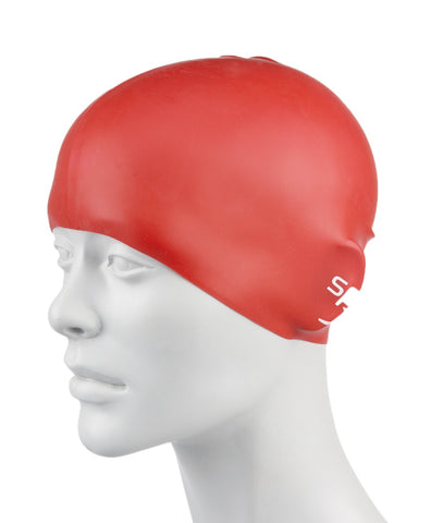 Speedo Unisex-Junior Plain Moulded Silicone Swimcap (Red) - Best Price online Prokicksports.com