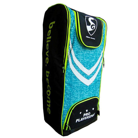 SG Pro Players pak Cricket kit Bag, Black/Lime/Cyan - Prokicksports.com