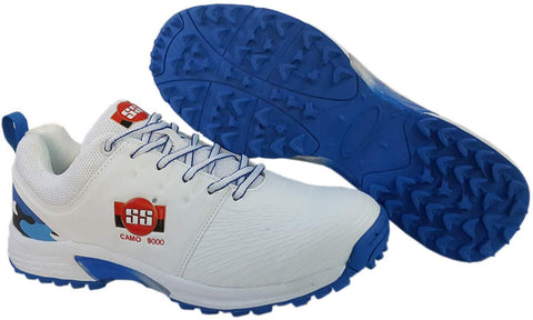 SS Rubber Spikes Professional Cricket Shoes for Men - Camo - White Blue - Prokicksports.com