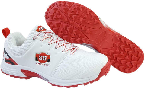 SS Rubber Spikes Professional Cricket Shoes for Men - Camo - White/Red - Prokicksports.com