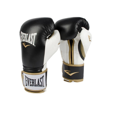 Everlast Powerlock Hook & Loop Training Boxing Gloves (Black & White) - Best Price online Prokicksports.com