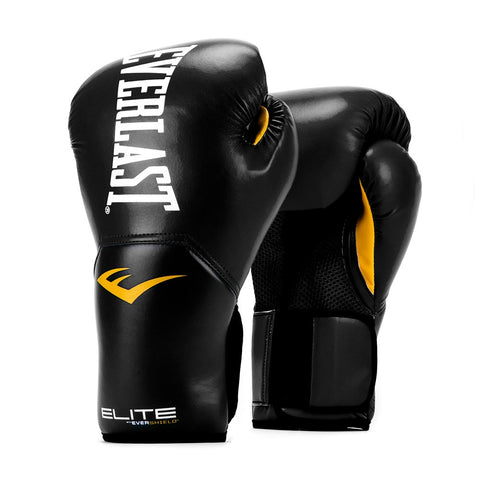 Everlast P00001240-10 Leather Training Boxing Gloves, Medium (Black) - Best Price online Prokicksports.com