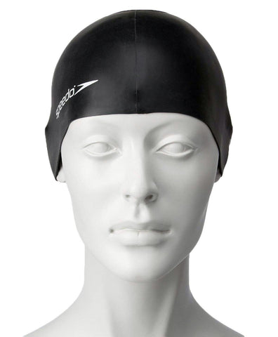 Speedo Unisex-Junior Plain Flat Silicone Swimcap - Black - Best Price online Prokicksports.com
