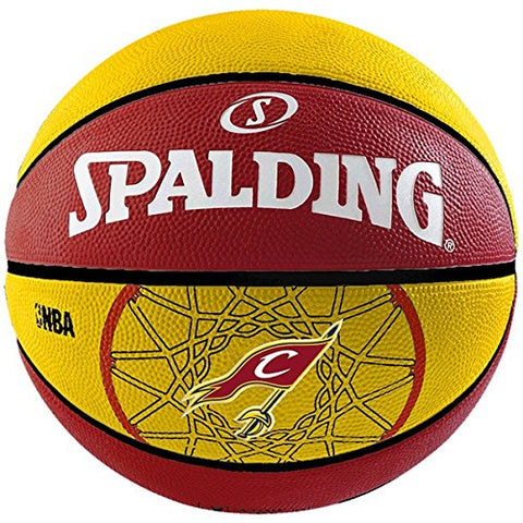 Spalding Team Cavaliers Basketball - Size: 7, Diameter: 24.25 cm Red/Yellow - Prokicksports.com