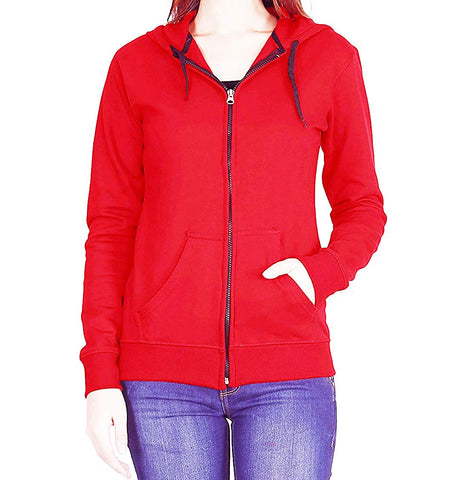 Prokick Women's Cotton Sweatshirt/Hoodie - Red - Best Price online Prokicksports.com
