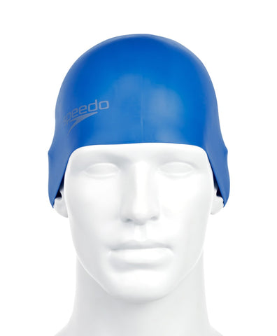 Speedo Unisex-Adult Plain Moulded Silicone Swimcap (Neon Blue) - Best Price online Prokicksports.com