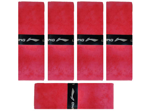 Li-Ning GP 25 SuperGrip Velvet Touch Badminton Racquet Over Grip (Pack of 5) - Red - Best Price online Prokicksports.com