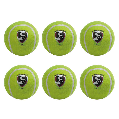 SG Light Weight Cricket Tennis Ball, Pack of 6 (Yellow) - Prokicksports.com