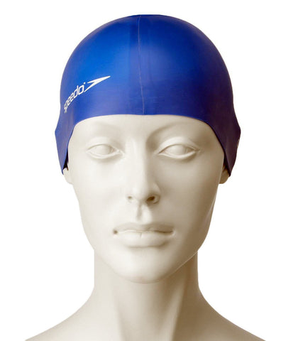 Speedo Unisex-Junior Plain Flat Silicone Swimcap - Blue - Best Price online Prokicksports.com