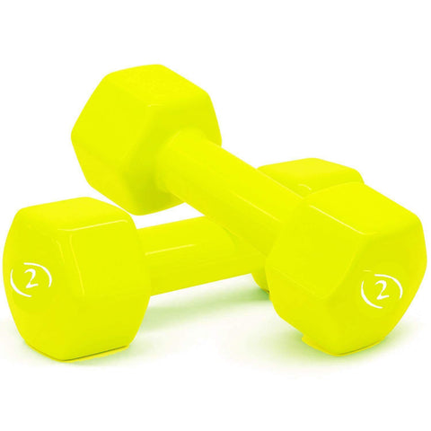 Prokick Vinyl Dumbbells -Set of 2 Yellow - Best Price online Prokicksports.com