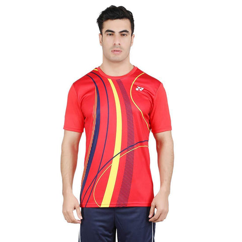 Yonex 1796 Polyester Badminton Choice of Champion Series T-Shirt (High Risk Red) - Best Price online Prokicksports.com