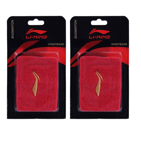 Li-Ning Wrist Band for Badminton / Tennis Players, Set of 2 -Red - Best Price online Prokicksports.com