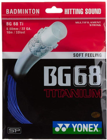 Yonex BG 68 Titanium Badminton Strings, 0.68mm (Royal Blue) - Best Price online Prokicksports.com