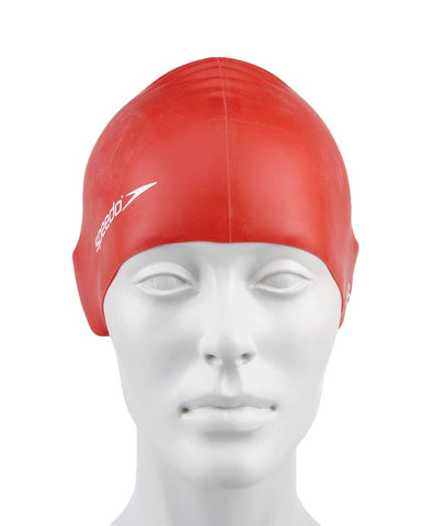 Speedo Unisex-Junior Plain Flat Silicone Swimcap - Red - Best Price online Prokicksports.com