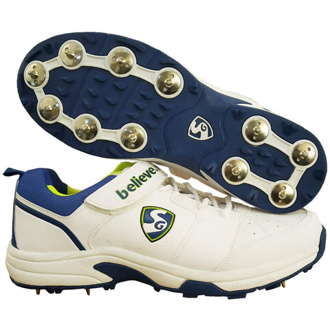 SG New Sierra 2.0 Full Metal Spikes Cricket Shoe, White/Lime/Royal Blue - Best Price online Prokicksports.com