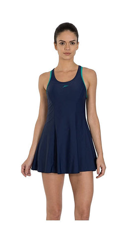 Speedo Female Swimwear Racerback Swimdress with Boyleg (Navy/Jade) - Best Price online Prokicksports.com