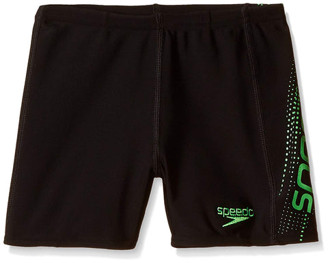Speedo Boys Swimwear Sports Logo Panel Aquashort - Black/Fluo Green - Best Price online Prokicksports.com
