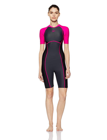 Speedo Female Swimwear Essential Spliced Kneesuit (Oxide Grey/Black/Electric Pink) - Best Price online Prokicksports.com