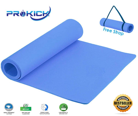 Prokick Anti Skid EVA Yoga mat with Strap - Blue - Best Price online Prokicksports.com