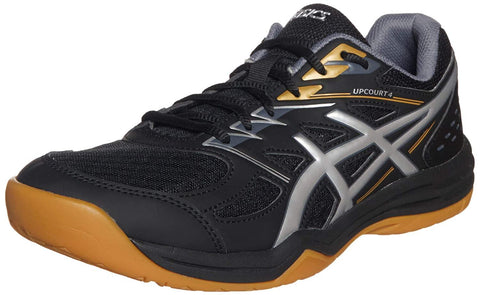 ASICS Men's Upcourt 4 Indoor Court Shoes Black/Pure Silver - Best Price online Prokicksports.com