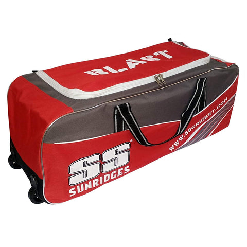 SS Double Wheel Cricket Kit Bag - Blast (Grey-Red) - Best Price online Prokicksports.com