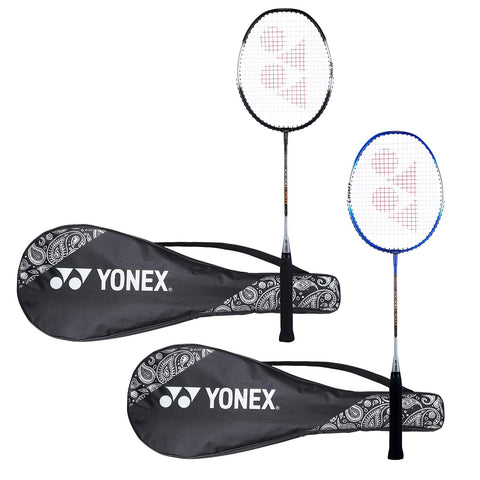 Yonex ZR 100 Light Aluminum Blend Badminton Racket with Full Cover, Set of 2 (Black + Blue) - Best Price online Prokicksports.com