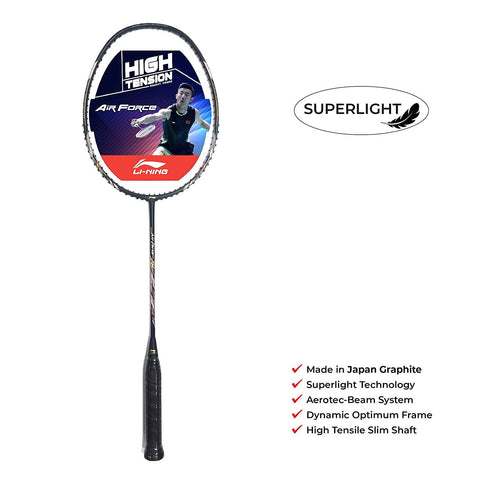 Li-Ning Air-Force 78 Unstrung Badminton Racquet (Black/Brown) - with Full Cover - Best Price online Prokicksports.com