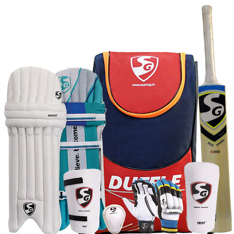 SG Summer Camp Kashmir Cricket Kit for All Ages, Navy/Red - Best Price online Prokicksports.com