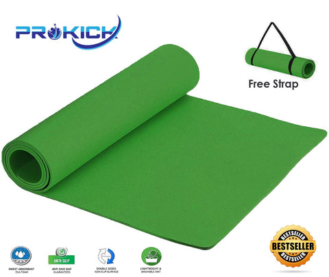 Prokick Anti Skid EVA Yoga mat with Strap - Dark Green - Best Price online Prokicksports.com