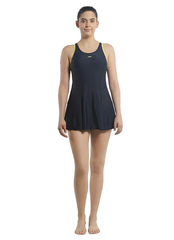 Speedo Female Swimwear Racerback Swimdress with Boyleg (Navy/Wild Lime) - Best Price online Prokicksports.com