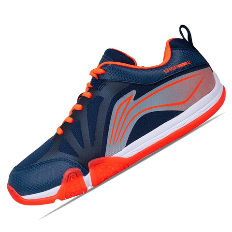 Li-Ning Saga Lite 2 Non Marking Badminton Shoes Navy/Orange - Best Price online Prokicksports.com