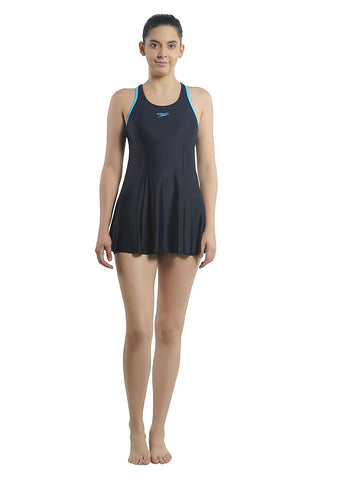 Speedo Female Swimwear Racerback Swimdress with Boyleg (Black/Adriatic) - Best Price online Prokicksports.com