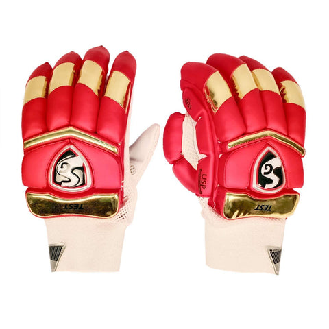 SG 2020 Edition Test Professional RH Batting Gloves - Red/Gold (Bangalore) - Best Price online Prokicksports.com