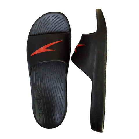 Speedo Extra-Light Water Resistant Swimming Slippers - (Black/Lava Red) - Prokicksports.com