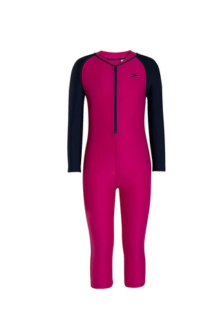 Speedo Tots Swimwear Color Block All-in-1 Suit (Electric Pink/Navy) - Best Price online Prokicksports.com