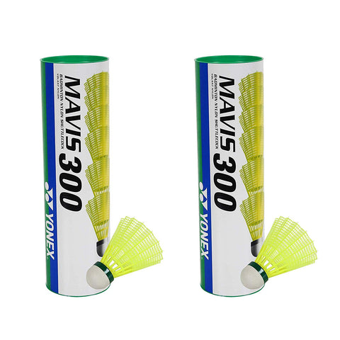 Yonex Mavis 300 Green Cap Nylon Shuttlecock Pack of 2 Cans, Yellow - Best Price online Prokicksports.com