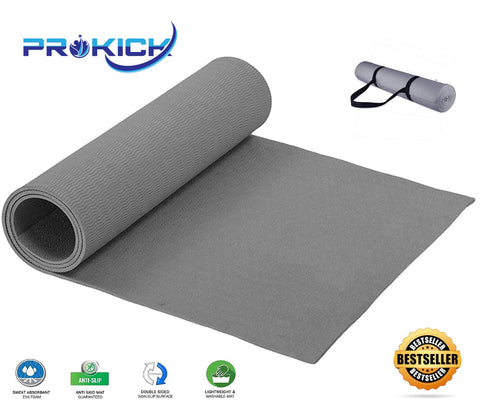 Prokick Anti Skid EVA Yoga mat with Strap - Grey - Best Price online Prokicksports.com