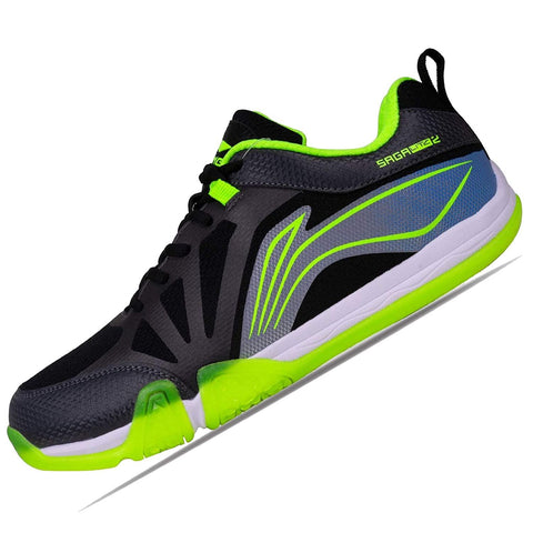 Li-Ning Saga Lite 2 Non Marking Badminton Shoes Dark Grey/Lime - Best Price online Prokicksports.com