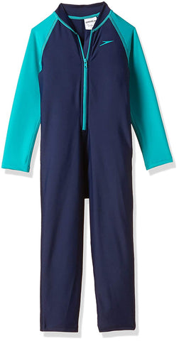 Speedo Tots Swimwear Color Block All-in-1 Suit (Navy and Jade) - Best Price online Prokicksports.com
