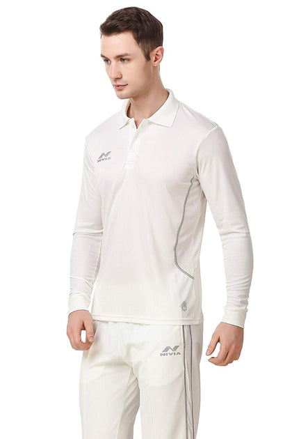 Nivia Lords Cricket Jersey Full Sleeves (White) - Best Price online Prokicksports.com