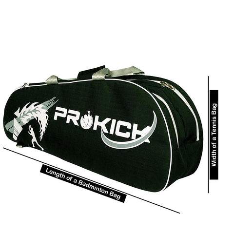 Prokick Double Zipper Badminton/Tennis Kit Bag with Shoe Compartment, Green - Best Price online Prokicksports.com