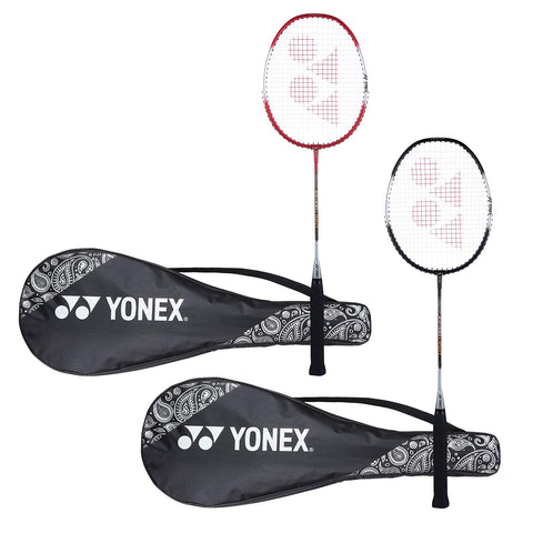 Yonex ZR 100 Light Aluminum Blend Badminton Racket with Full Cover, Set of 2 (Black + Red) - Best Price online Prokicksports.com