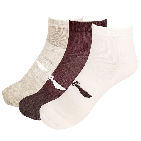 Li-Ning Cotton Men's Sports Socks, Ankle length, Pack of 3, Wht-Blk-Gry - Best Price online Prokicksports.com