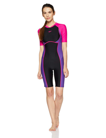 Speedo Female Swimwear Essential Spliced Kneesuit (Black / Tapestry / Electric Pink) - Best Price online Prokicksports.com