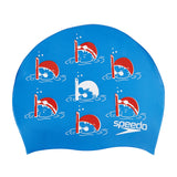 Speedo Junior Slogan Swimming Cap, Kids Free Size (Blue/Red) - Best Price online Prokicksports.com